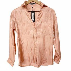Nasty Gal shimmer metallic button up shirt blush 2